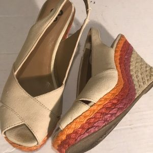 So Wedge Sandal Tan Orange Pink Sling Back- 8.5